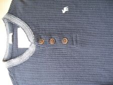 ABERCROMBIE & FITCH MENS LONG SLEEVED TSHIRT TOP NAVY BLUE SMALL VGC WAFFLE