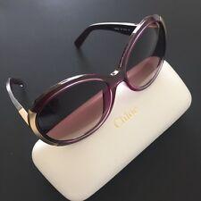 d000733ac4 Chloe Sunglasses CE656SA Purple Gold Oval Plastic Frame NIB Italy Made  355  NIB