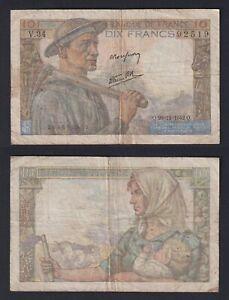 Francia 10 francs Mineur 1942  BB/VF  B-01