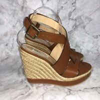 L.K Bennett Brown Leather Espadrille Wedge Sandals Women's Size 9