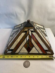 """STAINED GLASS ARTS & CRAFTS MISSION TABLE LAMP SHADE 12"""" SQUARE"""