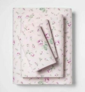 Simply Shabby Chic Antique Garden Pink Green Rose Rosebud Sheet Set - Cal King