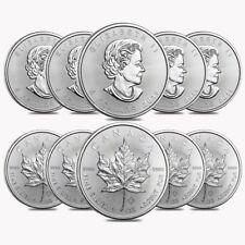 Lot of 10 - 2019 1 oz Canadian Silver Maple Leaf .9999 Fine $5 Coin BU