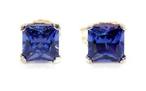 Sterling Silver Princess Cut 0.80ct / 1.52ct / 2.06ct Tanzanite Stud Earrings
