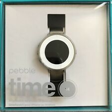 New Pebble Time Round 14mm Smartwatch Stone and Silver - Free Shipping