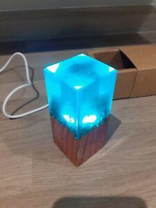 Epoxy Resin Wood LED Lamp Handmade, Brand New in box