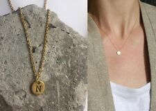 "Delicate Gold Round Disc "" N "" Letter Initial Pendant Necklace 18""L chain Urban"