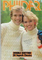 Vintage 80s Phildar Family Knitting Pattern Book.  Knitting  20 Designs