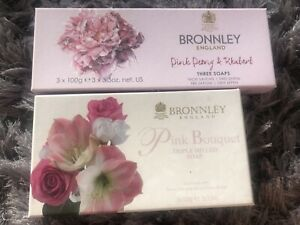 Bronnley Pink Peony & Rhubarb Soap 3x 100g And Pink Bouquet Soup Triple Milled