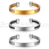 Men Women Stainless Steel Twisted Cable Open End Bangle Bracelet Free Engraving