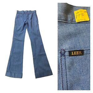 1960s Lee Jeans Sta Prest / NOS Blue Denim Flared Leg Pants Suedehead / Large