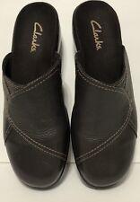 Clarks Clogs Slides Womens 7 M Brown Pebbled Leather Loafer Slides Chunky Heel
