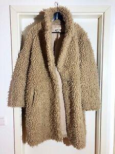 Teddy Mantel, Fake Fur Gr.L, beige von H&M