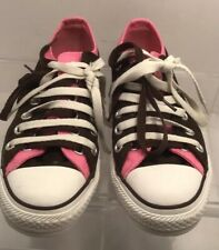 d19713b993b4 CONVERSE ALL STAR DOUBLE TONGUE OXFORD CHOCOLATE POLKA-DOT PINK SNEAKERS  SHOES 7