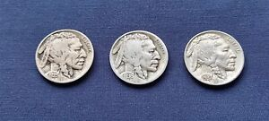 USA BUFFALO INDIAN HEAD 5 CENT NICKELS 1935 1936 1937 3 COINS