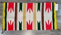"Vintage Native American Wool Weaving Navajo Indian Rug 35"" x 18"" With Tag"