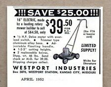 "1952 Print Ad Westport 16"" Electric Lawn Mowers Kansas City,MO"