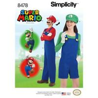 Simplicity Sewing  PATTERN 8478 Super Mario CostumeUnisex  Overalls  A XS-XL