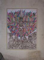::LYDIA SCHWARZ FEDERZEICHNUNG AQUARELLIERT °JESUS AM KREUZ° RELIGIÖSES UM 1970