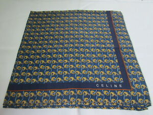 "USED BLUE GEOMETRIC KEY PATTERN COTTON 18"" HANDKERCHIEF POCKET SQUARE FOR MEN"