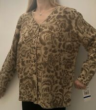 """NEW WithT Alfred Dunner Gold/Bronze Patterned Cardigan XL Up To 44/46"""" Chest"""