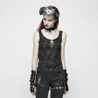 Punk Rave WT-539 Gothic black sleeveless top with shiny vegan leather choker