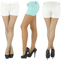 Damen Hotpants Hot Pants Jeans Shorts Kurze Hose Capri Hüft Stretch Weiss Blau