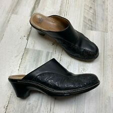 Sofft Leather Black Embossed Mule Clogs Slip-On Size 11 M