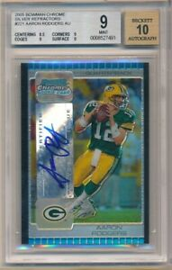 AARON RODGERS 2015 BOWMAN CHROME RC SILVER REFRACTOR AUTO #05/10 BGS 9 MINT 10