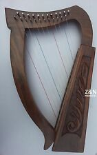 12 Strings Sheesham Wood Irish Harp, Carry bag & Tunning key