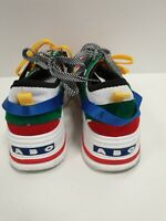 P41 MENS ABO FASHION WHITE RED GREEN LACE UP SPORTS TRAINERS UK 10.5 EU 44