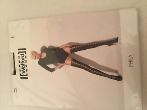 Wolford Phila Tights Large  14-16 Sahara / black same as picture