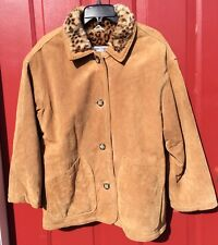 Women's J Percy For Marvin Richards Brown Suede w/Leopard Faux Fur Lining Sz M