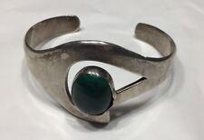 Cabochon Cuff Bracelet 1 1/4�w Taxco Vtg 80s Sterling Silver Green Malachite