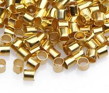 200pc Gold Crimp Tube Style Stopper Metal Bead 2mm-9240