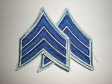 MILITARY/POLICE COSTUME SERGEANT RANK STRIPES - BLUE/ LIGHT BLUE - 1 PAIR