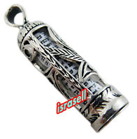 925 Sterling Silver Mezuzah Pendant with Shema Israel Scroll - Hear O Yisrael