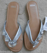 M&S Silver White Stones Flat Slippers Shoes for Summer (NEW) size 3