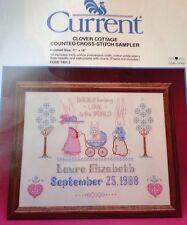 Current Cross Stitch Sampler Kit Clover Cottage Vintage Baby Birth Announcement