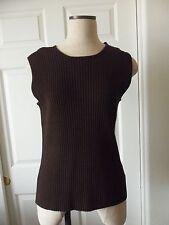 Jones New York Dark Brown Rayon Blend Knit Sleeveless Round Neck Sweater - L