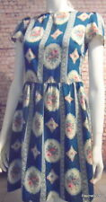 cute vintage print tea dress teal pink cream 8
