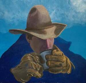 Western Vintage Painting Cold Cowboy Drinking Coffee On The Range Blue Sky 1977