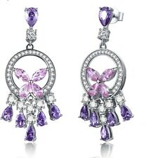 Sterling Silver 925 Stamped Drop Earrings in Topaz, Amethyst w/32 Beauty Stones