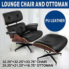 Classic Lounge Chair and Ottoman PU Leather Home Eames Style Comfortable
