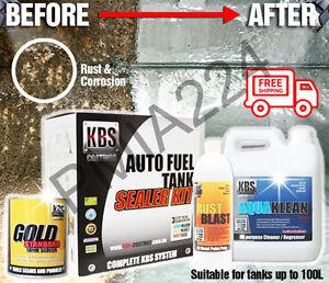 KBS Auto Car Fuel Tank Sealer Repair Kit - up to 100L - BONUS Spout and Gloves