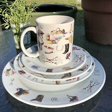 Set of Gha Equestrian Horse China Plates, Bowl & Coffee Cup