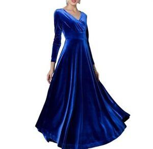 Womens Velvet Long Big Hemline Dress V Neck Empire Waist Slim Dinner Maxi Dress