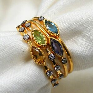 Multi Gemstone Elegant Four Stacking Rings Jewelry Solid 925 Sterling Silver