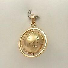 18K Yellow Gold 3D Spinning Globe in Circle Charm Pendant 7.5gr