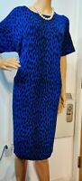 HOBBS FITTED CHEETAH PRINT DRESS SIZE UK 16 US 12 APPROX BLUE BLACK 100% COTTON